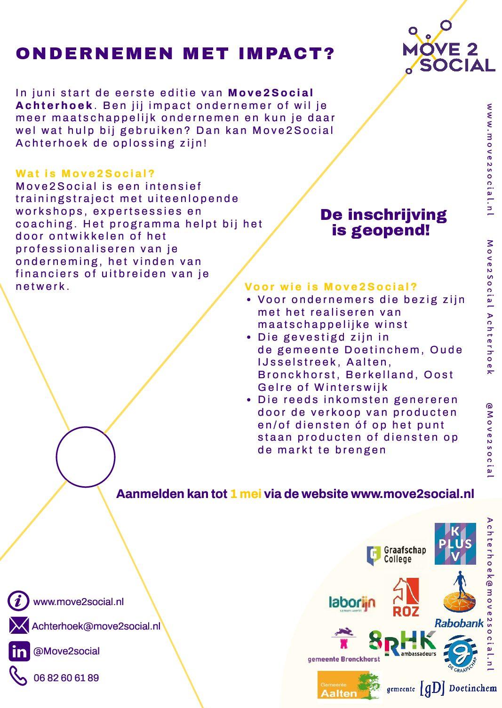 Move2Social Achterhoek – ondersteuningsprogramma voor ondernemen met impact